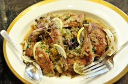 Braised Pheasant Legs with Cabbage and Grapes