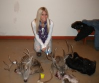 My girlfriend with my trophies