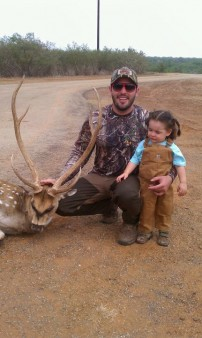 Baby girl firs hunt with Papa